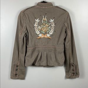 Anthropologie Embroidered Military Jacket size S